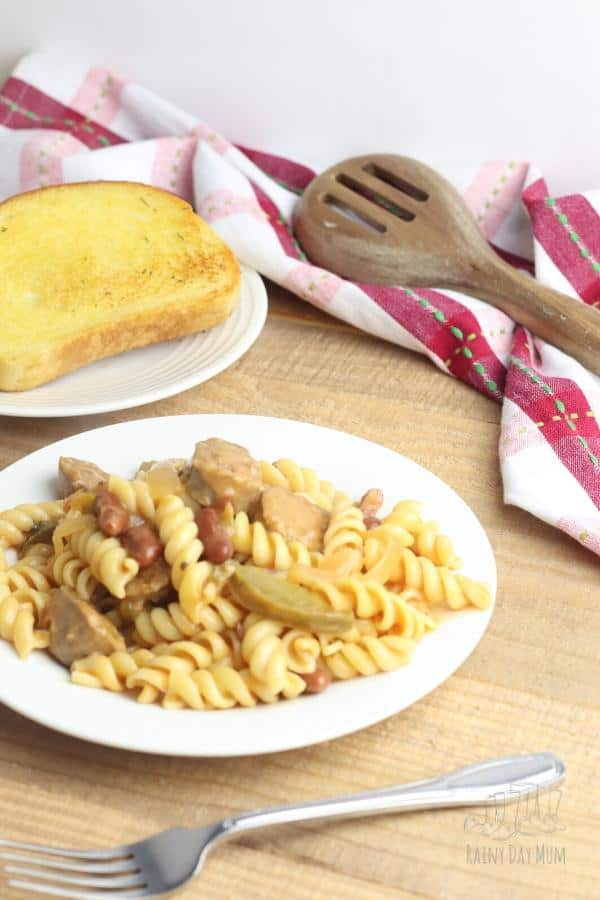 spicy sausage and kidney beans in a creamy sauce with pasta