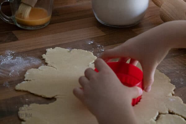 using a pastry cutter with homemade pastry