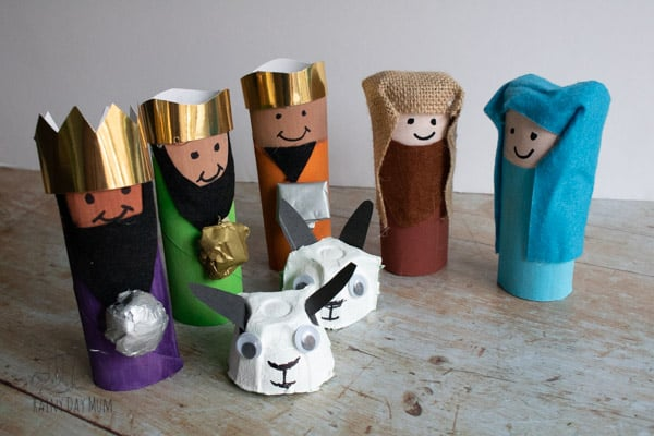 Cardboard Tube Nativity Set for Kids to Make