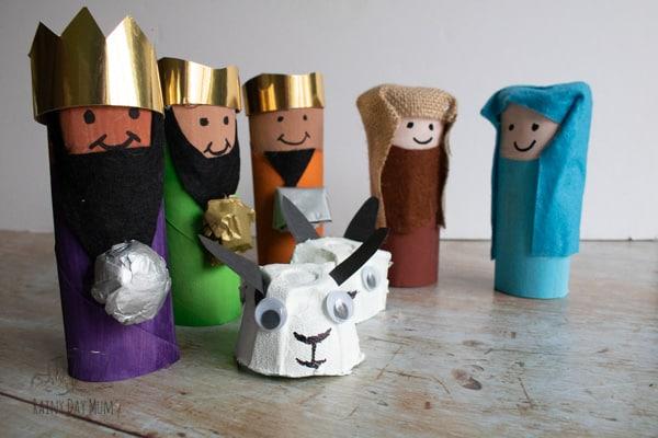 Cardboard Tube Nativity complete with egg carton sheep