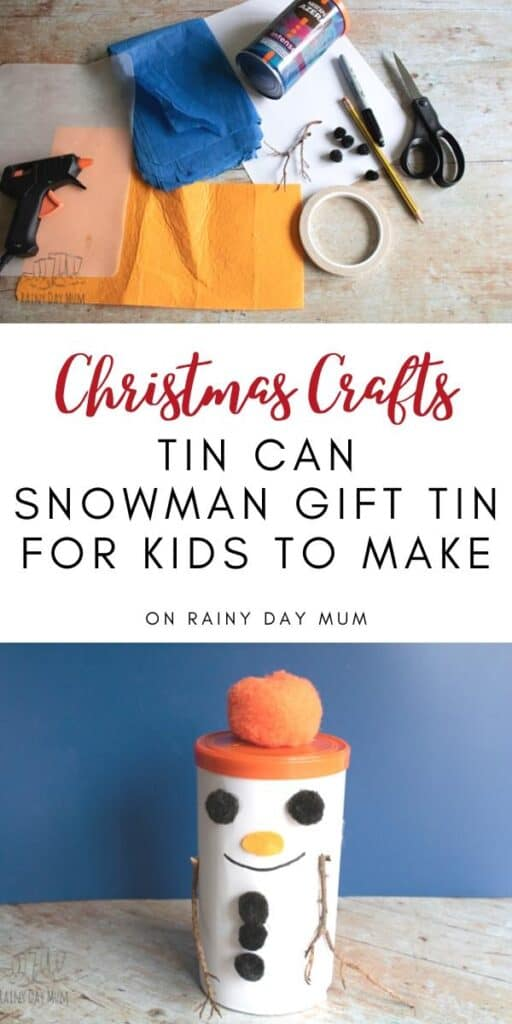 Christmas Crafts a Snowman Gift Tin for Kids to Make