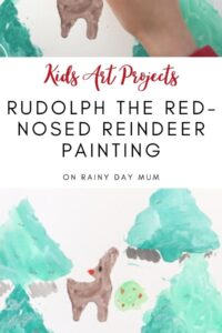 Kids Christmas Art Project using watercolors and oil pastels
