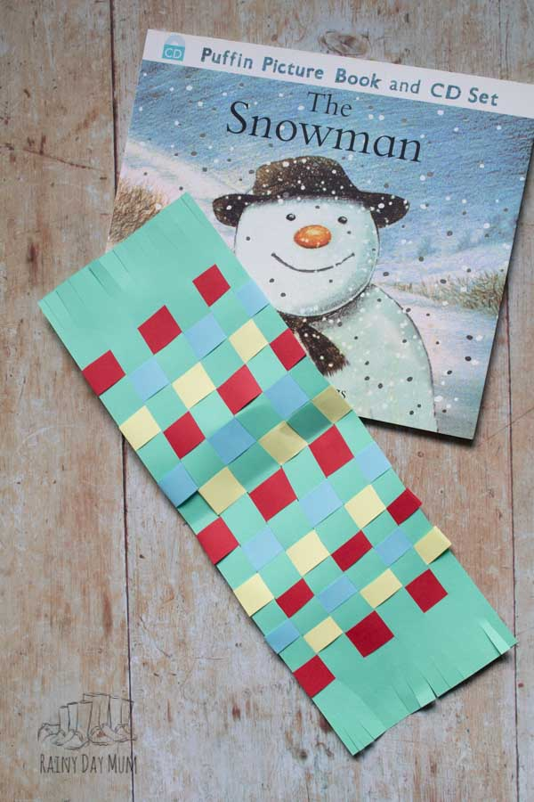 The Snowman Activity for kids to make a woven paper scarf