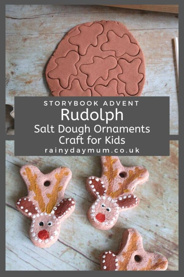 Rudolph the Red Nosed Reindeer salt dough ornaments for storybook advent on rainy day mum