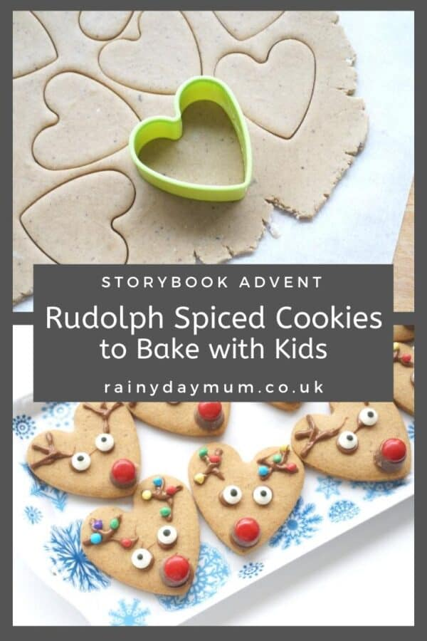 Delicious Rudolph the Red Nose Reindeer Spiced Cookies made from a heart shaped cookie cutter
