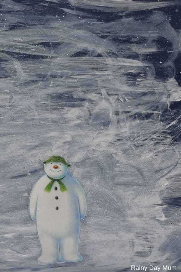 Easy art project inspired by the snowman for kids from toddlers up to create