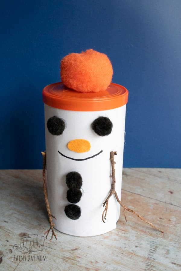 Finished Snowman Gift Tin for Kids to Make