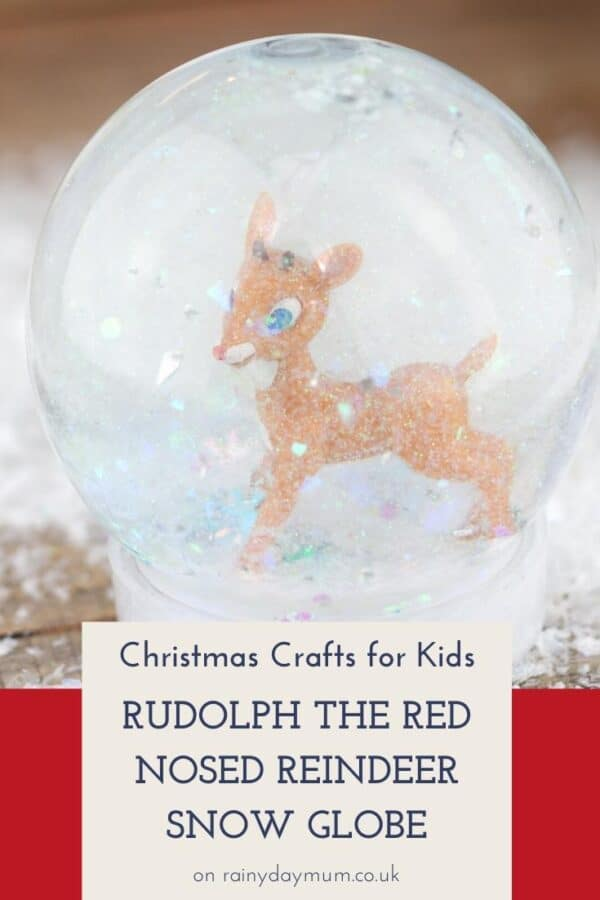 Christmas Crafts for Kids - Snow globe with Rudolph Toy in