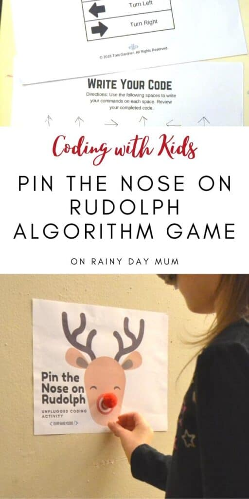 coding with kids - unplugged Christmas coding activity to pin the nose on Rudolph