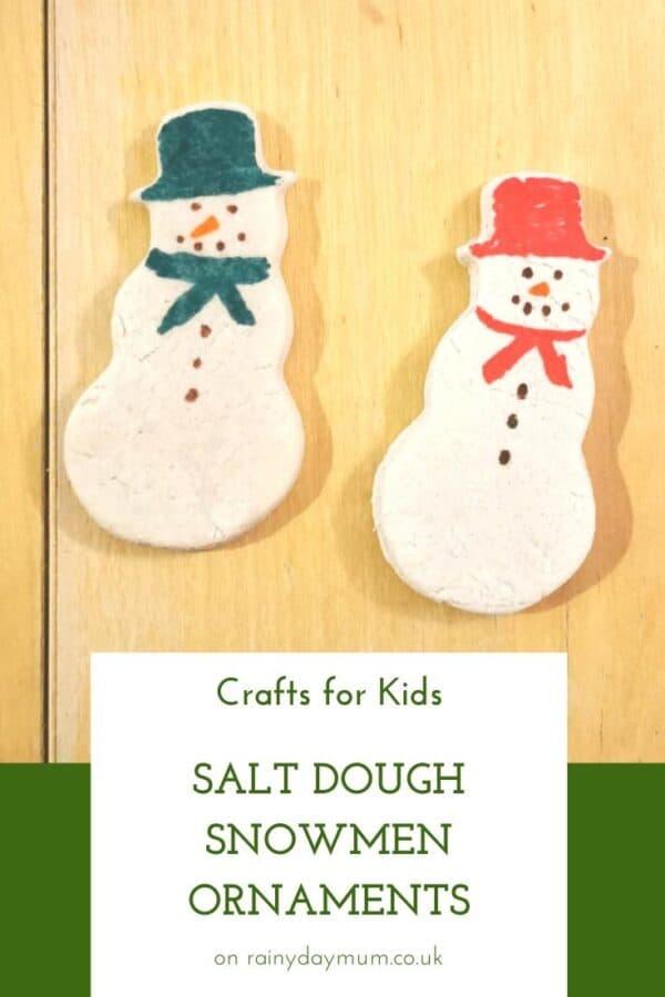 kids crafts - snowmen made from salt dough