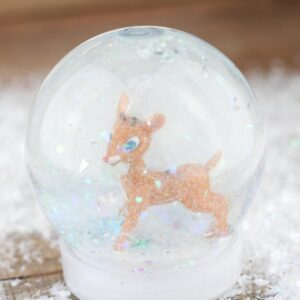 Easy Christmas Craft for Kids to make a Rudolph the Red Nosed Reindeer Snow Globe