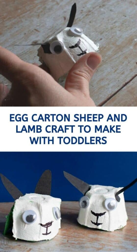 egg carton sheep and lamb craft for toddlers