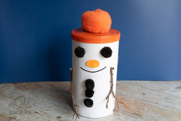 cute snowman gift box craft for kids make this from a coffee can
