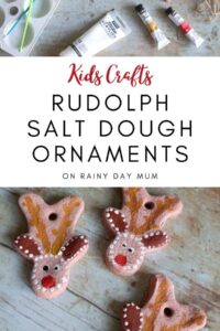 Kids Christmas Craft to make Rudolph Salt Dough hanging ornaments for the tree