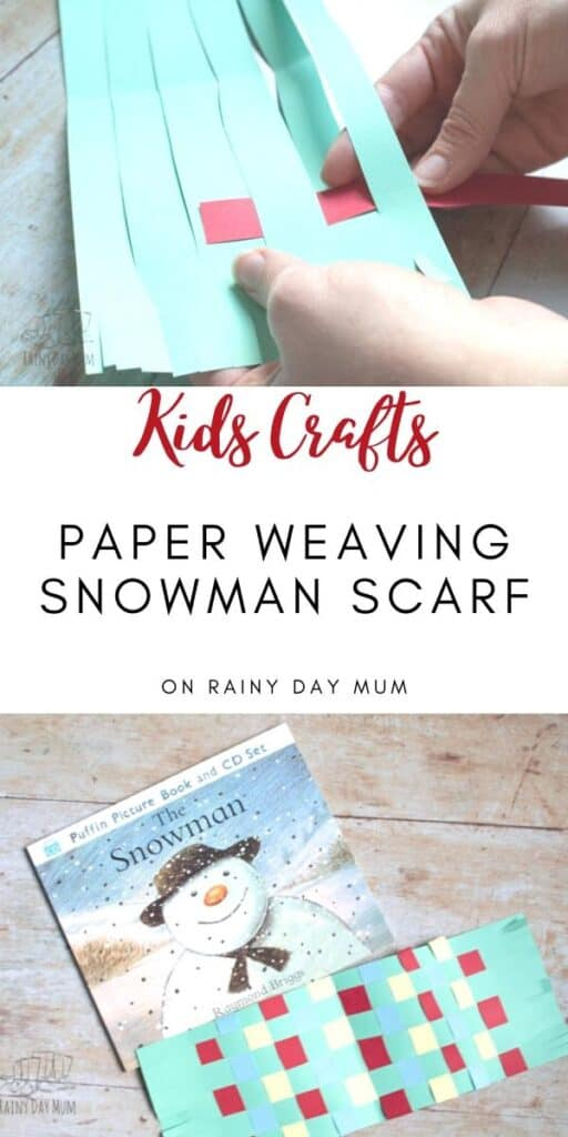 Kids Paper Weaving project to make a scarf for The Snowman