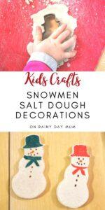 kids crafts - easy to make snowmen salt dough decorations
