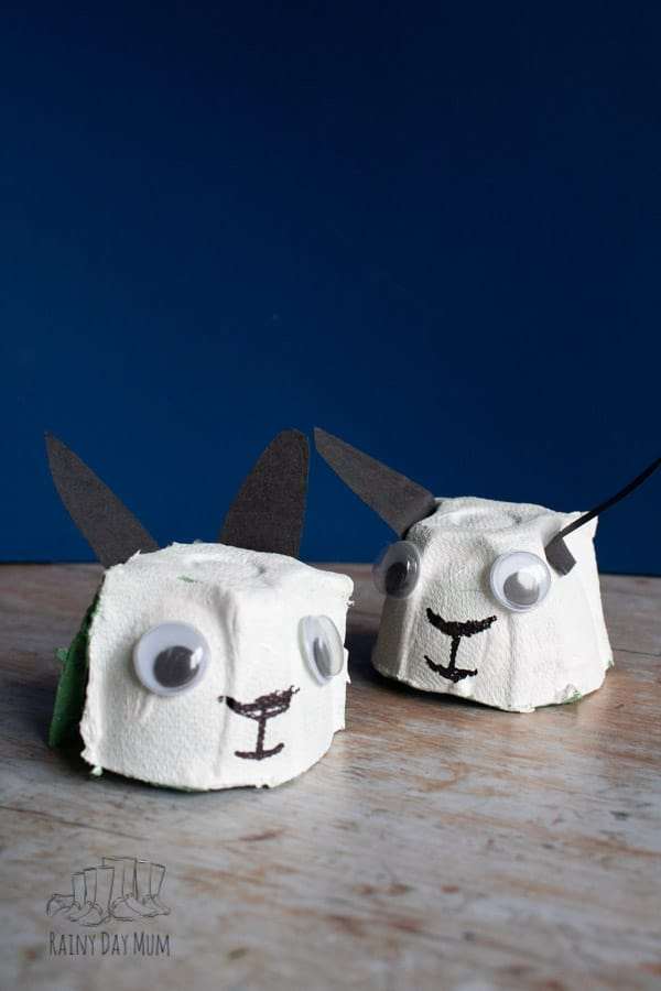 simple kids craft for making egg carton sheep
