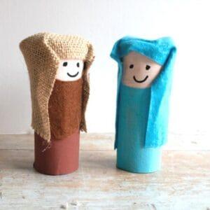 Mary and Joseph Cardboard Tube Nativity Craft for Kids