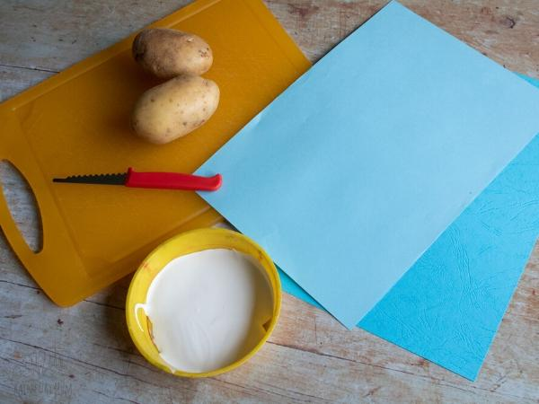 materials for potato printing with toddlers and preschoolers