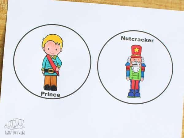 nutcracker thaumatrope printable coloured with marker pens