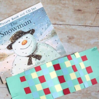 Paper Snowman Scarf Weaving Craft for Kids
