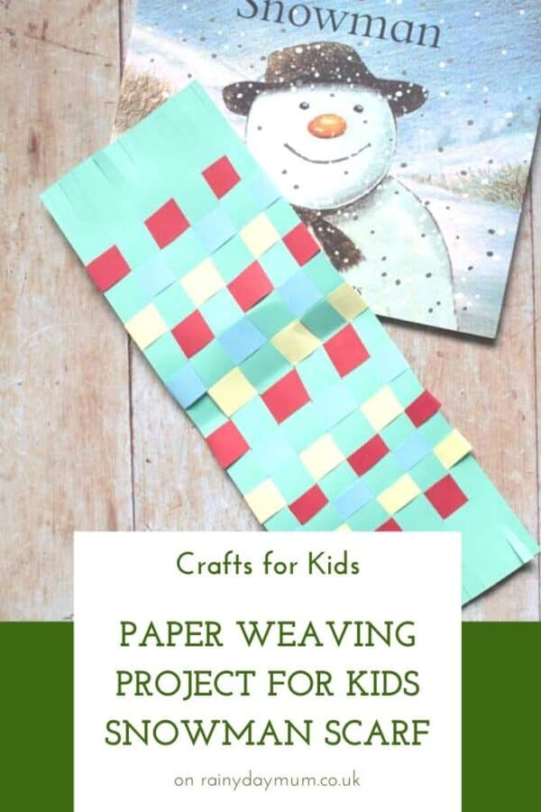 Paper weaving project for toddlers and preschoolers to make a scarf for The Snowman