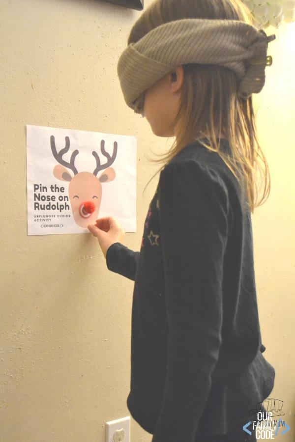 pin the nose on Rudolph STEAM activity for kids