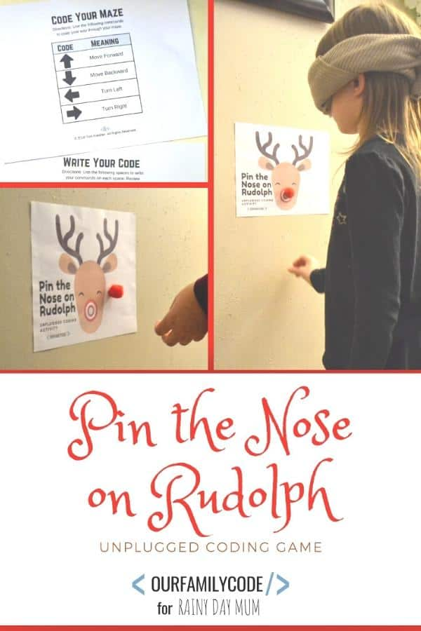 Pin the Nose on Rudolph Unplugged Coding Game for Kids