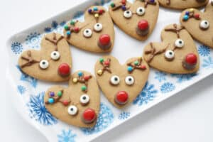 Rudolph Cookies made from hearts on a Christmas tray