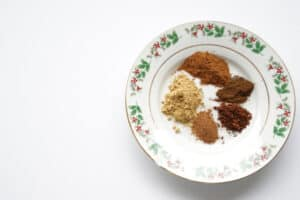 Christmas spices used in the Christmas Spiced Cookies to cook with kids