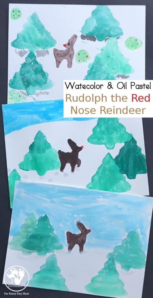 Rudolph the Red Nosed Reindeer Watercolor Project for Kids