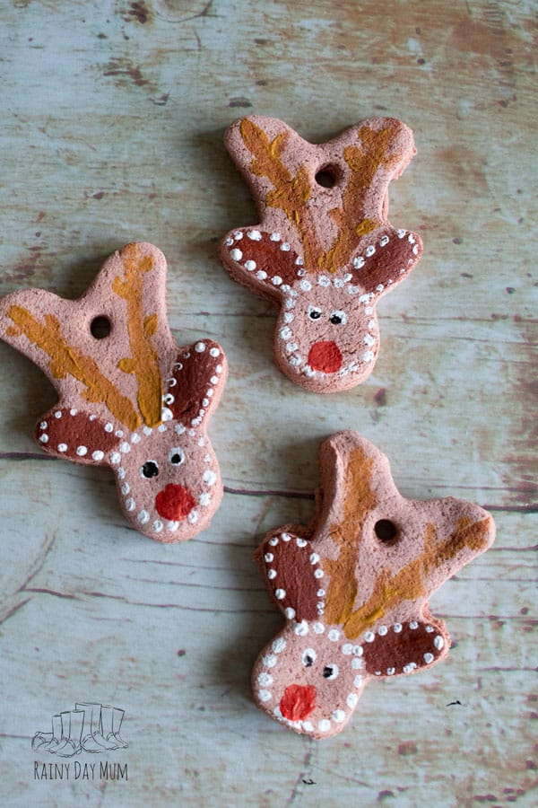 Rudolph Salt Dough Ornaments for Kids to Make