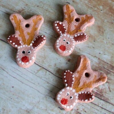 Rudolph Salt Dough Decorations for Kids to Make for Christmas