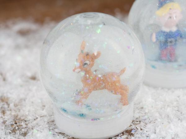 snow globe diy for the storybook rudolph the red nosed reindeer