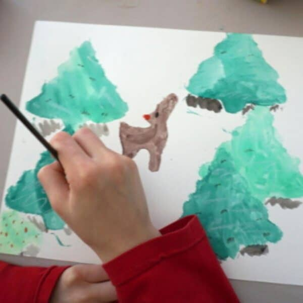 Rudolph the Red Nosed Reindeer Art Project for Kids
