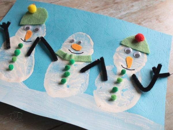 snowmen potato print art for toddlers and preschoolers