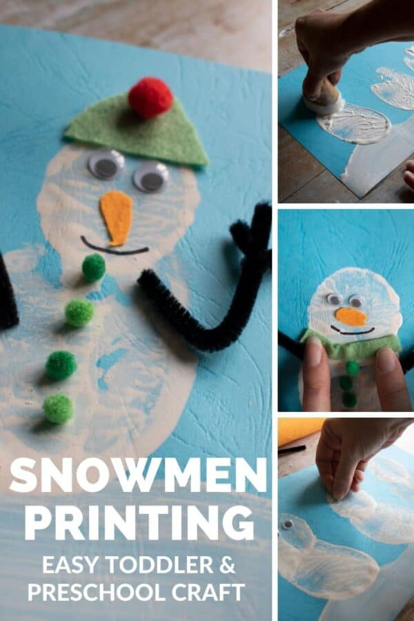Snowmen Printing. Easy Toddler and Preschool Winter Craft