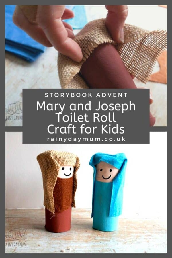 Mary and Joseph Cardboard Tube Craft for Storybook Advent on Rainy Day Mum