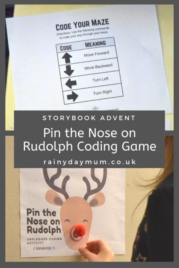 storybook advent rudolph activities an unplugged coding game to pin the nose on the reindeer