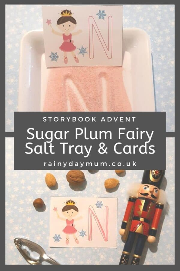 storybook advent sugar plum fairy ABC cards for writing practice and salt tray use