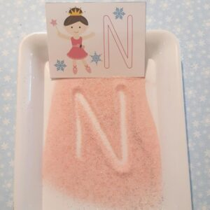 FREE printable Sugar Plum Fairy Letter Cards and Salt Tray Activity for Kids
