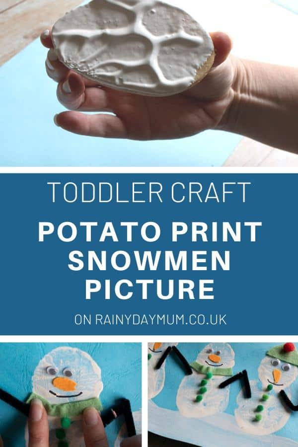 Toddler and Preschool Potato Print Winter Art and Craft Snowmen Pictures