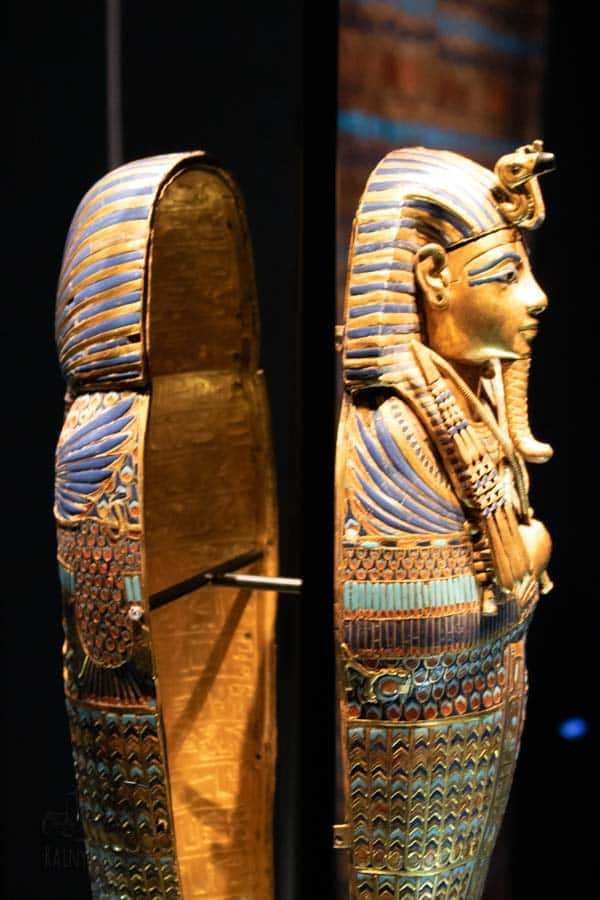 one of the coffinettes at that was found in Tutankhamuns tomb gold and decorated inside with heiroglyphics