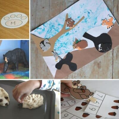 Collage of some of the activities and crafts for toddlers and preschoolers on the theme of winter and hibernating animals