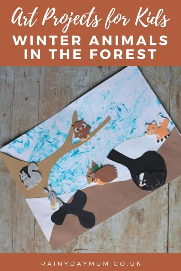 Winter Art Project for Toddlers and Preschoolers - shaving cream marbling forest animals in the snow.