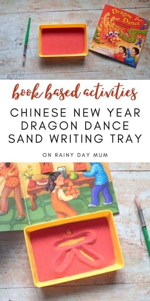book based activities - chinese new year Dragon Dance by Joan Holub inspired montessori sand writing tray activity for toddlers and preschoolers