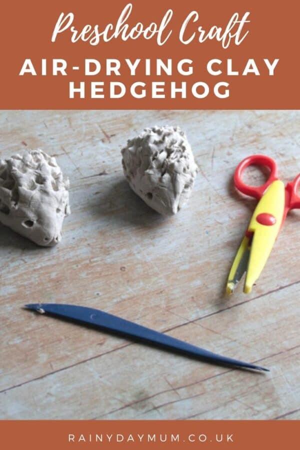 easy preschool craft to make clay hedgehogs