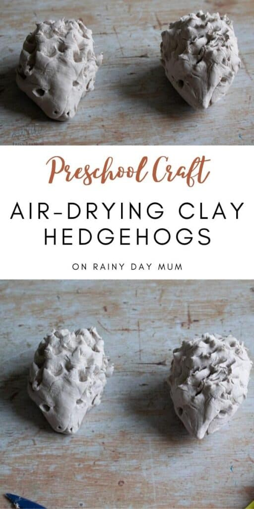 Air drying clay hedgehog craft for preschoolers and toddlers