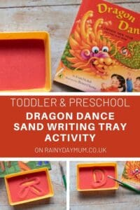 Toddler and Preschool Sand Writing Tray inspired by Dragon Dance