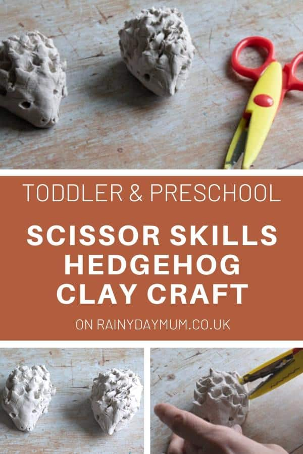 Toddler and Preschool Scissor Skills Hedgehog Clay Craft